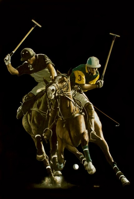 "Ron Lesser, American Contemporary ""Struggle For The Ball, Adolfo Cambiaso"" 2012, Oil on board, 37 x 25 inches, Signed"