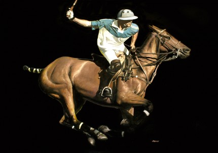 "Ron Lesser, American Contemporary ""The Attack"" The Adolfo Cambiaso Series, Oil on board, 25 x 35 inches, Signed"