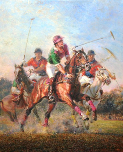 "Alfredo De la María, Uruguayan Contemporary ""The Polo Match"" Oil on canvas, 39 x 31 inches, 46 x 38 inches, Signed & Framed"