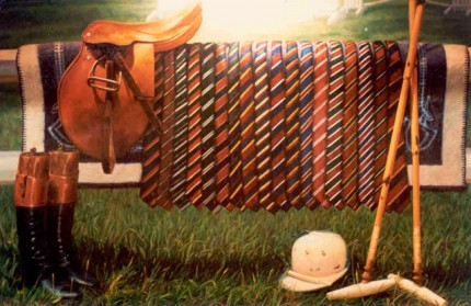 "Lonni Clarke, American Contemporary ""Ties for Polo"" 1986, Oil on linen, 30 x 40 inches, Signed. Commission for Polo/Ralph Lauren"
