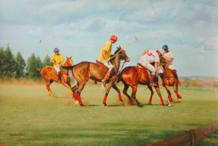 "Richard King, Zimbabwean Contemporary ""Umzari Polo I"" Oil on canvas, 19 x 28 inches, Signed"