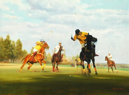 "Richard King, Zimbabwean Contemporary ""Umzari Polo II"" Oil on canvas, 22 x 30 inches, Signed"