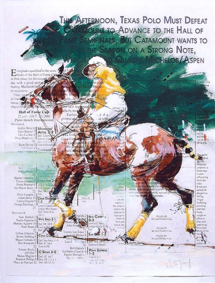 """Wellington Polo"" Gouache on program, 12 x 9.75 inches, Signed"