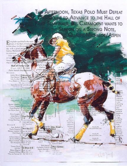 """Wellington Polo"" Gouache on program, 12 x 9.75 inches, Signed"