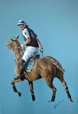 "Mark Robinson, Irish Contemporary ""Adolpho Cambiaso"" 2012, Acrylic on canvas, 28.5 x 20 inches, Signed"