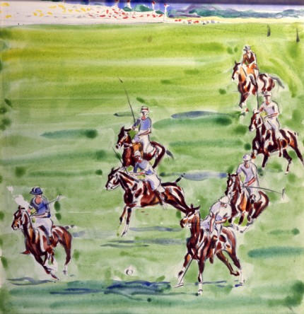 """1930 International Polo at Meadow Brook I"" Watercolour on paper, 15 x 15.5 inches, Signed"