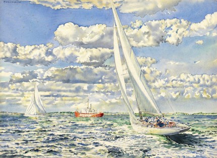 """America's Cup 1962, Australians off Brenton Reef Lightship, Gretel (AUS) vs. Vim (US)"" Watercolour, 22 ⅛ x 30 ⅛ inches, Signed upper left, Titled on verso"