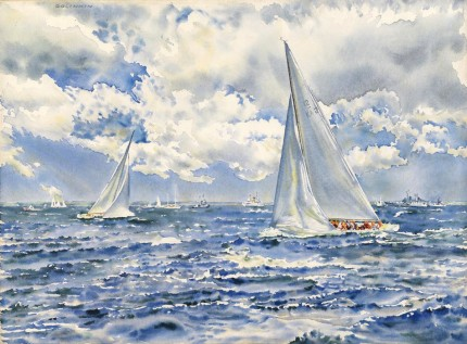 """America's Cup 1967, Beat to the Finish, Intrepid (USA) vs. Dame Pattie (AUS)"" Watercolour, 21 ½ x 29 ½ inches, Signed upper left, Titled on verso"