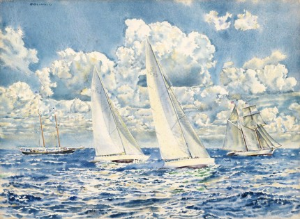 """America's Cup 1967, Syndicate Mates, Intrepid and Constellation"" Watercolour, 22 ½ x 30 ½ inches, Signed upper left, Titled on verso"