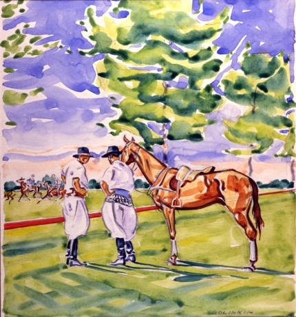 """Argentine Grooms and Pony"" Watercolour on paper, 11 x 10.25 inches, Signed"