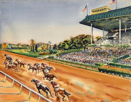 """Autumn Meeting Belmont II, New York, c.1935"" Watercolour, 22 ½ x 28 ¾, Signed lower right, Titled verso"