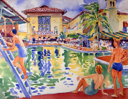 """""""Biltmore Pool, Coral Gables"""" Watercolour on paper,19 ¼ x 25 inches, Signed lower left"""