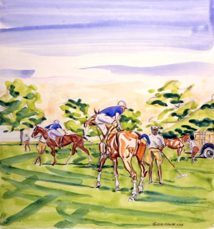 """Blue Players Mounting, Grooms, Woody"" Watercolour on paper, 15.5 x 14.5 inches, Signed"