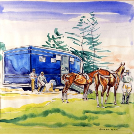 """Blue Van, Grooms, and the Ponies"" Watercolour on paper, 11 x 11 inches, Signed"