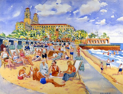 """Breakers Beach"" Watercolour on paper, 19 ¼ x 25 inches, Signed lower right"