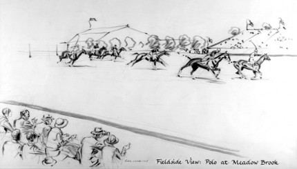 """""""Fieldside View: Polo at Meadow Brook"""" Charcoal on paper, 8 x 14 inches, Signed"""