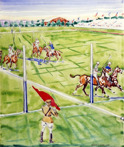 """Flagman, US Goal at 1930 International"" Watercolour on paper, 16.25 x 13.75 inches, Signed"