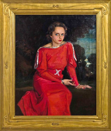 """The Red Dress"" Oil on canvas, 40 x 32 inches, Signed lower right"