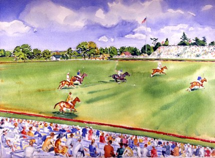 """1930 International Polo at Meadow Brook II"" Watercolour on paper, 22 x 30 inches, Signed"