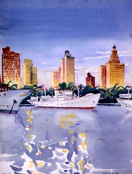 """Miami Yacht Basin"" Watercolour on paper, 25 x 19 ¼ inches, Signed lower right"