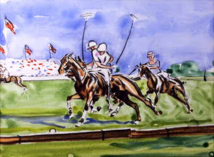 """On the Ball"" Watercolour on paper, 11 x 15 inches, Signed"