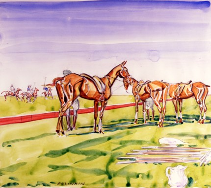 """Ponies on the Sidelines"" Watercolour on paper, 11.25 x 10 inches, Signed"