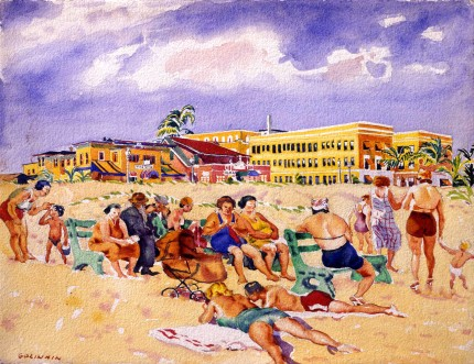 """Public Beach Miami"" Watercolour on paper, 19.25 x 25 inches, Signed lower left"