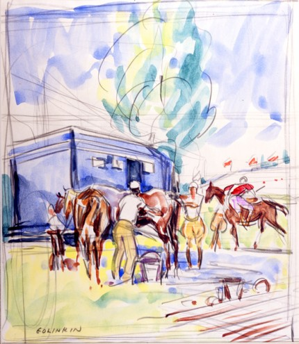 """Sketch of Blue Van, and Red Player Mounting"" Watercolour on paper, 15 x 12 inches, Signed"