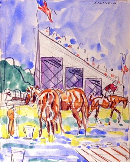 """Sketch for Meadow Brook, Red Player Mounting"" Watercolour on paper, 15 x 12 inches, Signed"