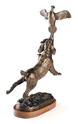 "Bunny Connell, American (20th Century) ""By the Tail"" Bronze, Edition of 35, 15 x 8 x 5.5 inches"