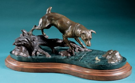 "P. Davis, American Contemporary ""Jack Russell Terrier Fishing"" Bronze, Edition of 25, 23 x 14 x 17 inches, Signed"