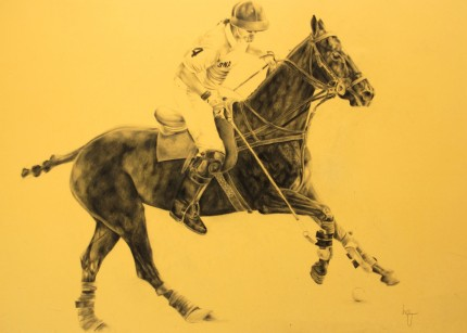 """Polo Drawing VI"" Graphite on paper, 20 x 28 inches, Signed"