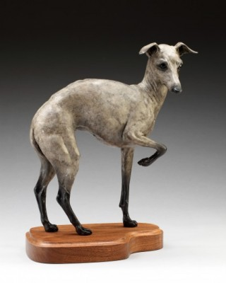 "Tammy Bality, American Contemporary ""Little Diva"" Recycled Aluminum ""Green"" Sculpture, Edition 8/17, 18 x 12 inches, Life-Size Italian Greyhound Signed"