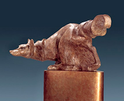 "Diana Reuter-Twining, American Contemporary ""Under Cover"" Bronze (Cire perdue) Edition of 12, This sculpture is available in two sizes: Display and Monumental, 4 x 9 x 4 inches, 66 x 50 x 27 inches, Signed & Numbered"