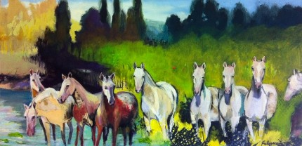 """Ten Horses"" Mixed media on canvas, 24 x 48 inches, SIgned"