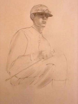 """Jockey Drawing I"" Graphite on paper, 19 x 12 inches"