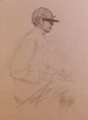 """Jockey Drawing II"" Graphite on paper, 19 x 12 inches"
