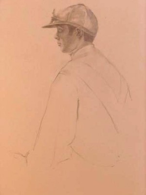 """Jockey Drawing III"" Graphite on paper, 19 x 12 inches"