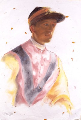 """Jockey on Marigold Paper"" Pastel, 42 x 22 inches"