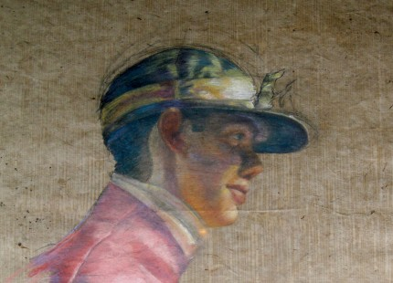 """Jockey Pastel II"" Pastel on handmade paper, 30 x 20 inches"