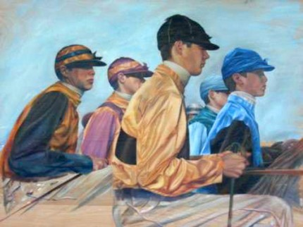 """Jockeys on Panel"" Oil on panel, 26 x 32 inches"