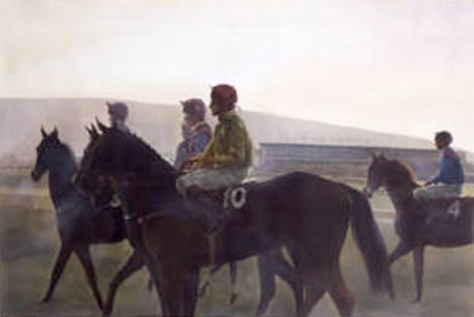 """Jockeys at the Start - Cheltenham"" Watercolour"