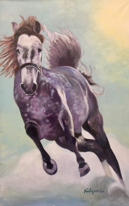 """Horsepower"" Acrylic on canvas, 55 x 36 inches, Signed"