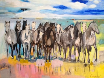 """Mirage at Sabel"" Mixed media on canvas, 56 x 72 inches, Signed"