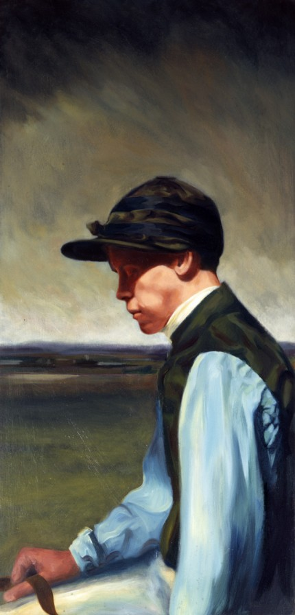 """Newmarket Jockey"" Oil on panel, 38 x 24 inches"