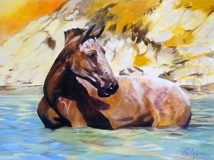 """Bathing Pony"" Oil & Acrylic on canvas, 30 x 40 inches, Signed"