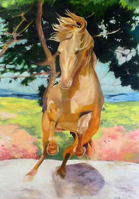 """Golden Stallion"" Oil & Acrylic on wood panel, 53 x 36 inches, Signed"