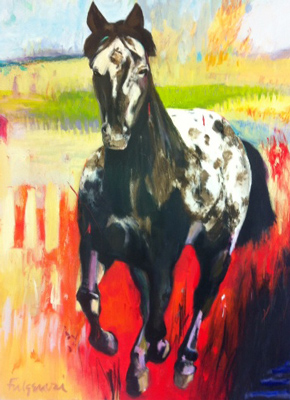"""Painted Pony"" Mixed media on canvas, 40 x 30 inches, Signed"