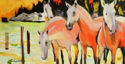 """Sunset Ponies"" Mixed media on canvas, 24 x 48 inches, Signed"