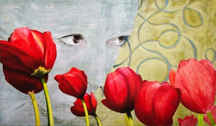 """Red Tulips"" Acrylic on canvas, 48 x 84 inches, Signed"